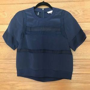 Rebecca Taylor navy blue silk & mesh top